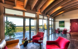 The beauty and comfort of the Fairsing Vineyard tasting room in Yamhill, Oregon
