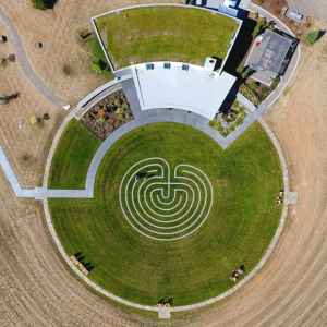 An aerial view of the labyrinth and tasting room at Fairsing Vineyard