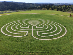 The seven-circuit labyrinth at Fairsing Vineyard invites visitors for a meandering stroll