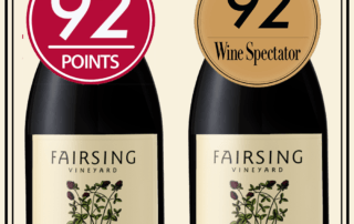 The Wine Enthusiast 92 Point Fairsing Vineyard 2015 Pinot Noir Sullivan and Wine Spectator 92 Point Fairsing Vineyard 2015 Pinot Noir Dardis.