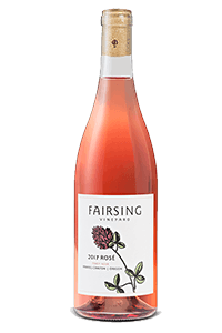 A beautiful image of a bottle of 2017 Fairsing Vineyard Rosé of Pinot Noir.