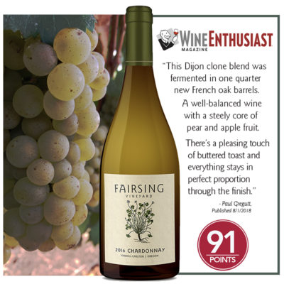 Fairsing Vineyard 2016 Chardonnay Awarded 91 Points from Wine Enthusiast