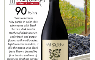 Fairsing Vineyard 2016 Pinot Noir Dardis Awarded 90 Points from Wine Advocate
