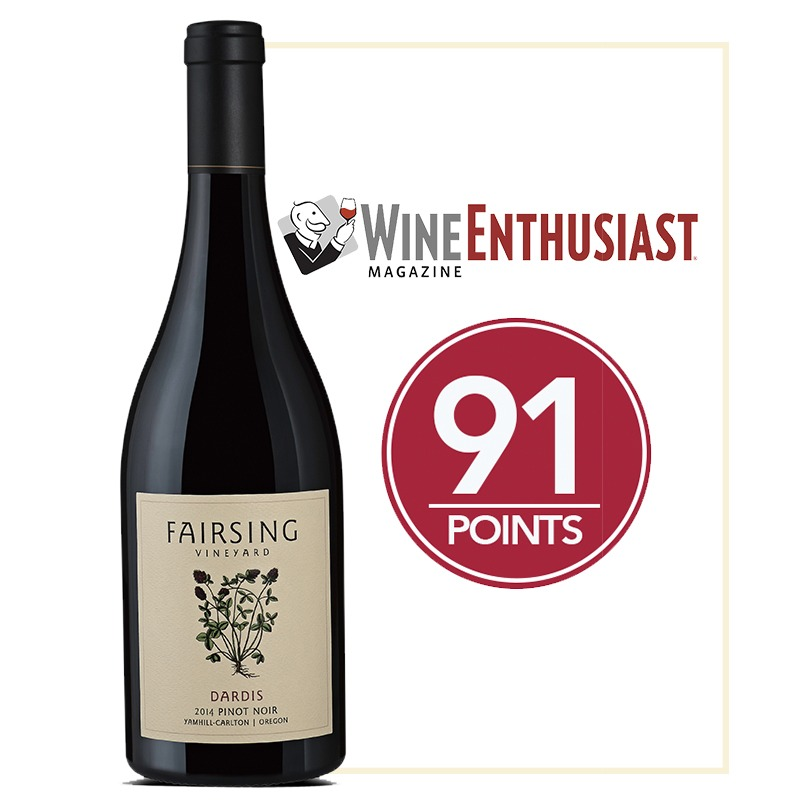 The 2015 Fairsing Vineyard Pinot Noir Dardis received 91 Points from Wine Enthusiast