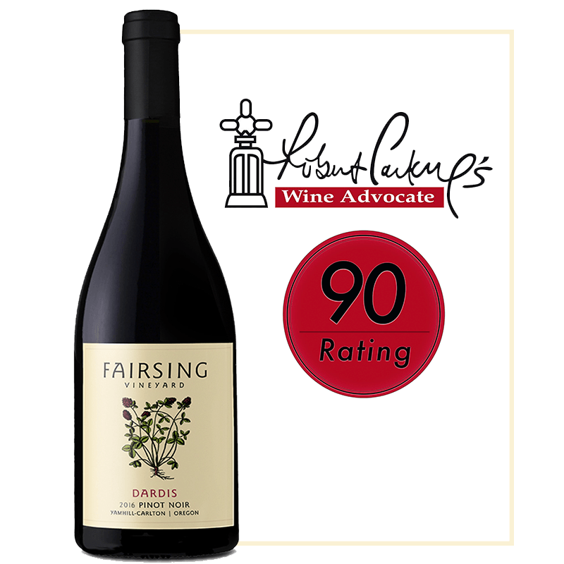 The 2016 Fairsing Vineyard estate Pinot Noir Dardis received a 90 Rating from Wine Advocate