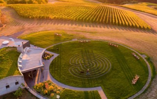 The Fairsing Vineyard Tasting Room and Labyrinth At Sunrise in Oregon's Yamhill-Carlton AVA of the Willamette Valley.
