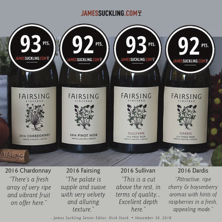 Fairsing Vineyard 2016 Wines and acclaim from JamesSuckling.com