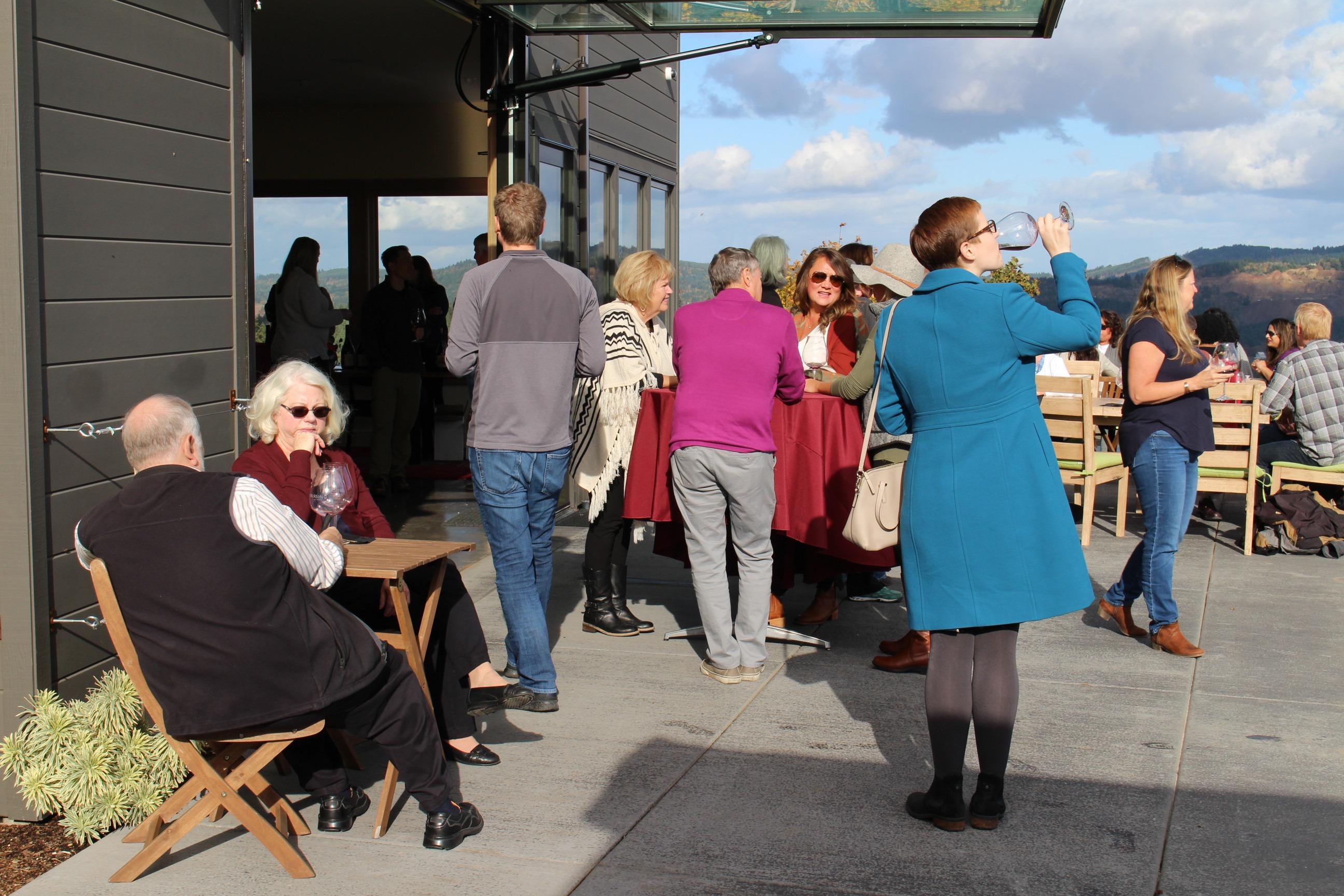 Fairsing Vineyard Wine Club members enjoying the November sunshine at the 2018 fall open house