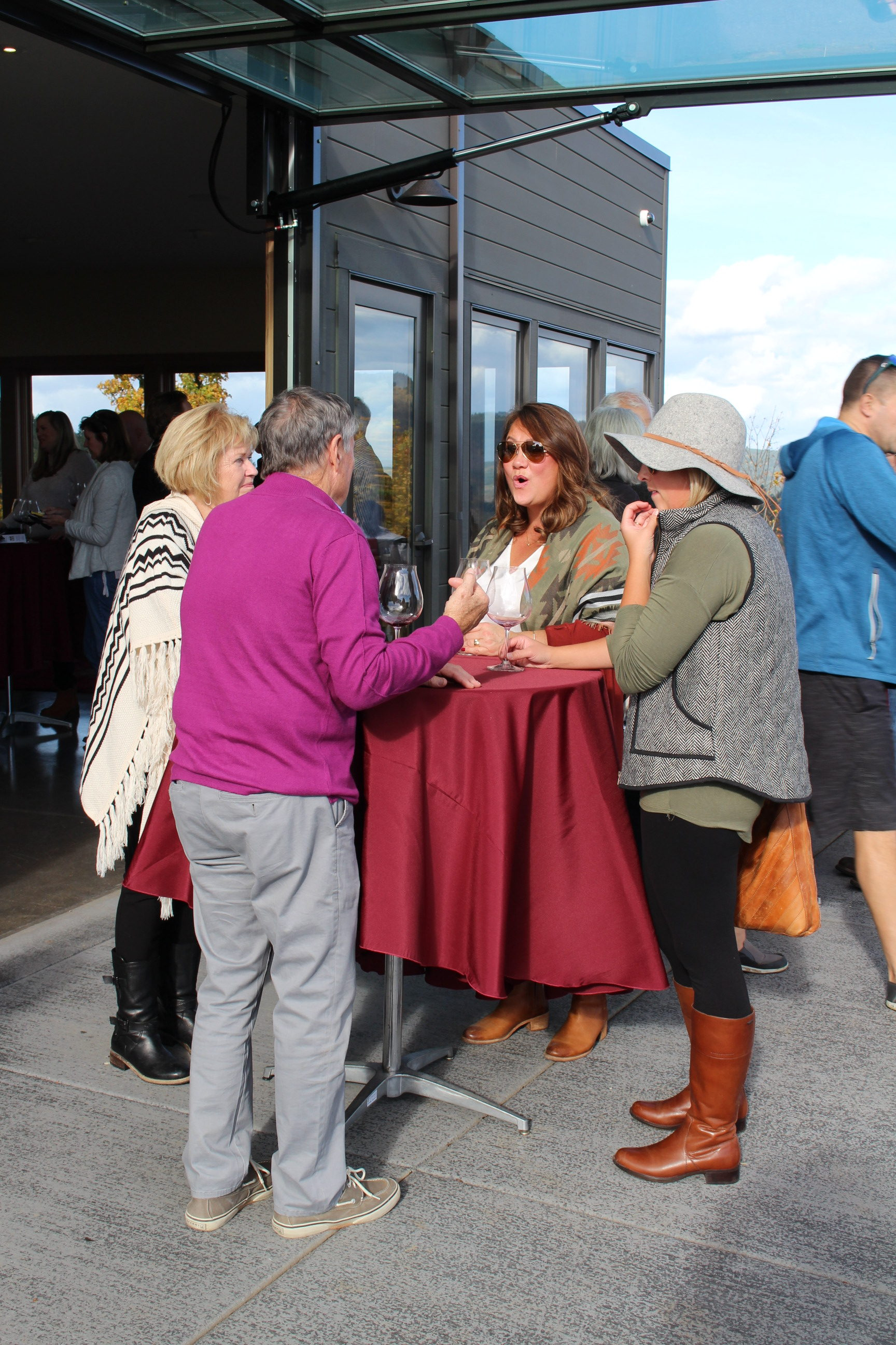 Fairsing Vineyard members enjoying the patio and fun at the 2018 fall open house