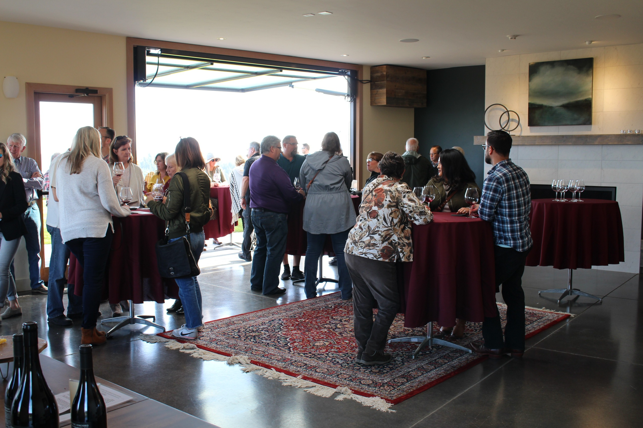 Fairsing Vineyard Wine Club members enjoy the event space during the 2018 fall open house