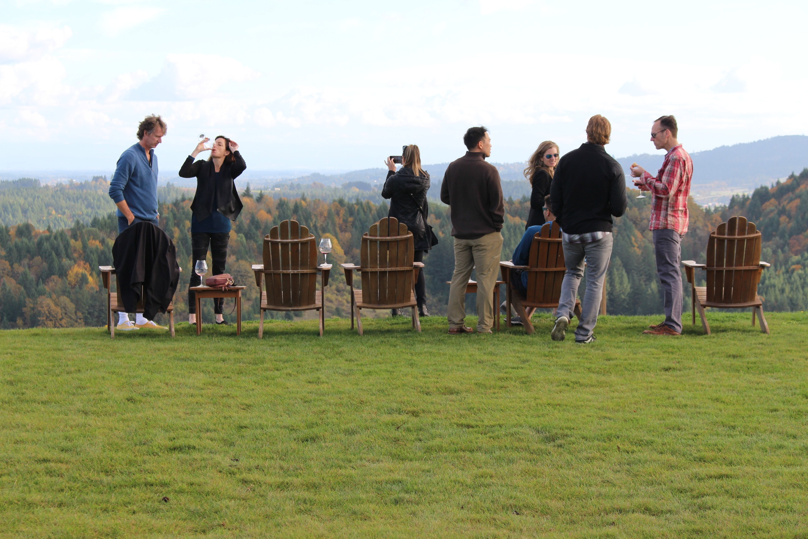 Fairsing Vineyard Wine Club members enjoying the wines and views at the November open house