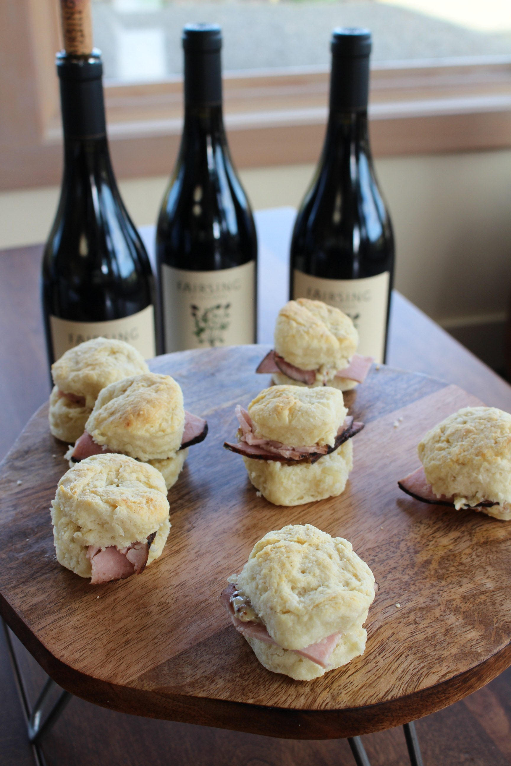 Homemade biscuits with honey mustard butter and black forest ham for Wine Club members at Fairsing Vineyard's fall open house