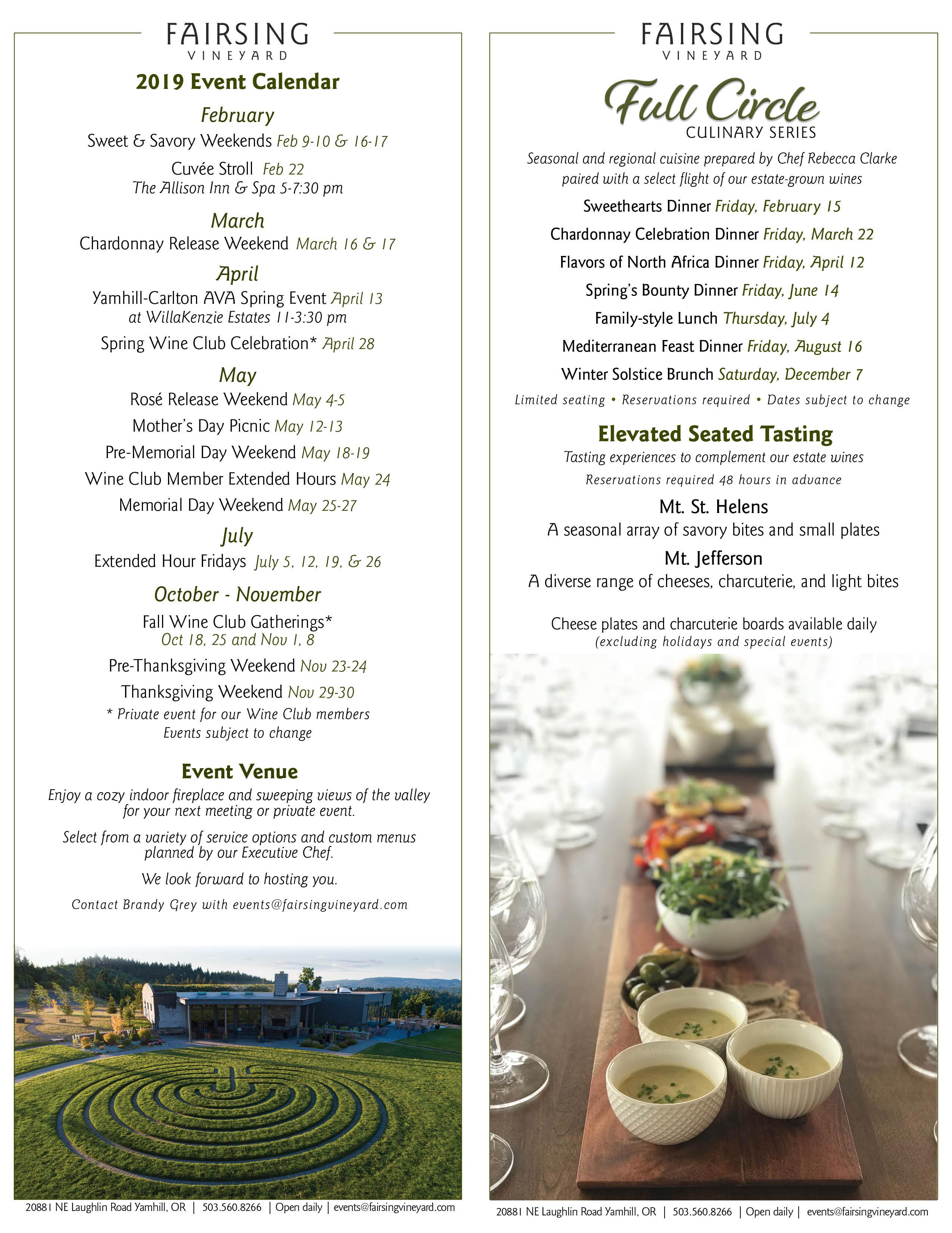 The 2019 Fairsing Vineyard Calendar of Events