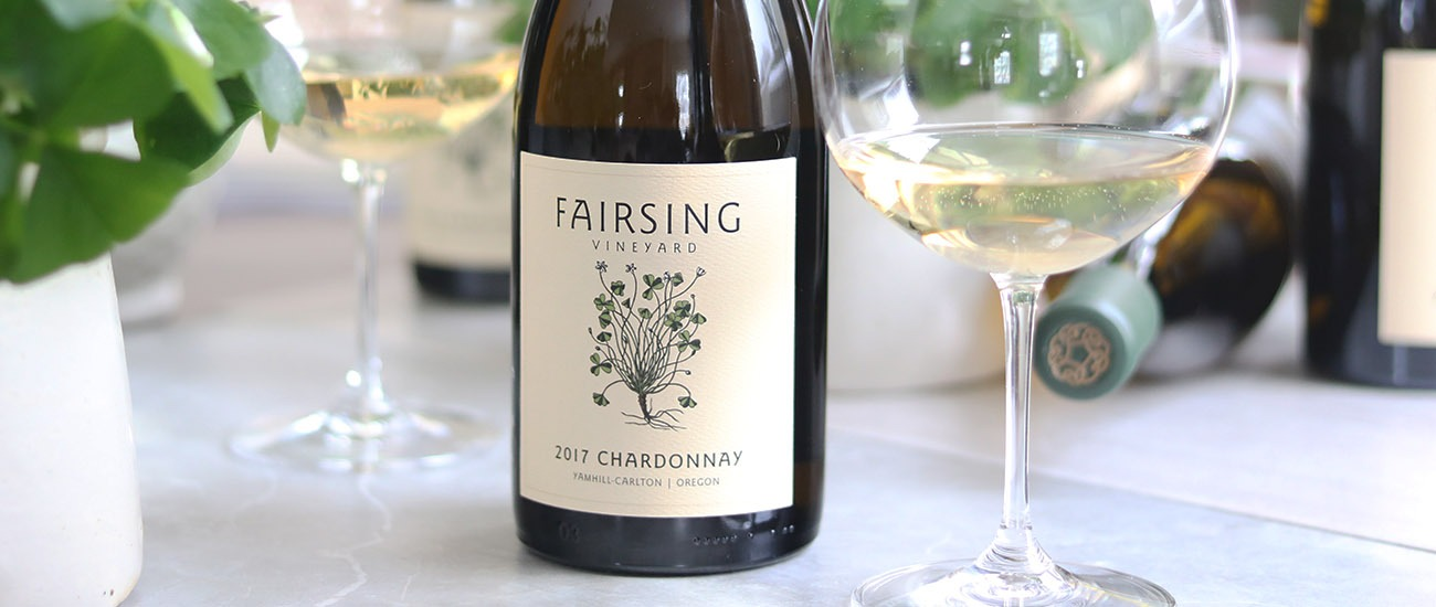 The estate Fairsing Vineyard 2017 Chardonnay from Oregon's Willamette Valley is crafted by Robert Brittan and features the shamrock plant on the label