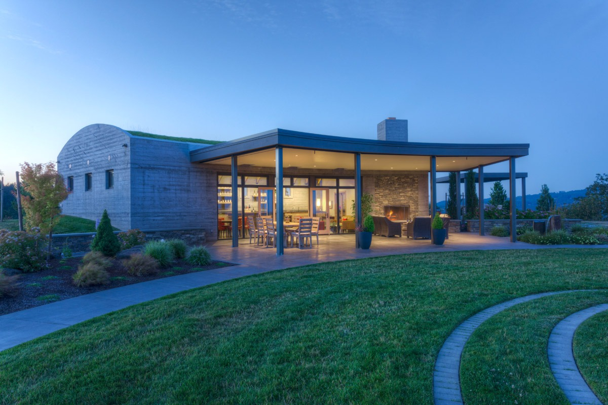The Fairsing Vineyard tasting room in Oregon's Willamette Valley is reminiscent of ancient structures found in the hillsides of Ireland