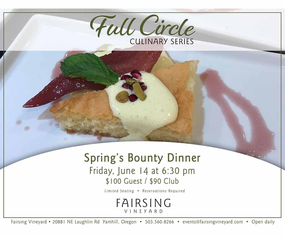 Full Circle Culinary Series dinner Friday, June 14 celebrating Spring's Bounty