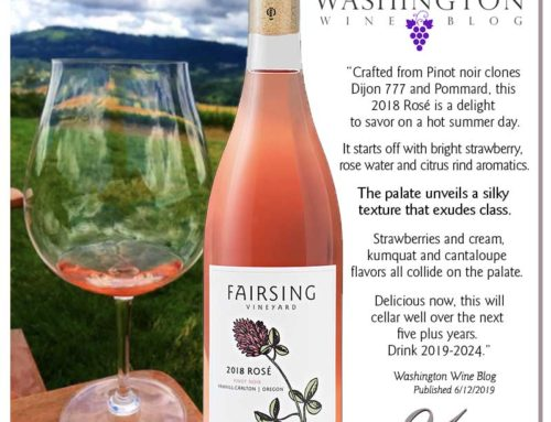 Honors for the 2018 Rosé of Pinot Noir from the Washington Wine Blog