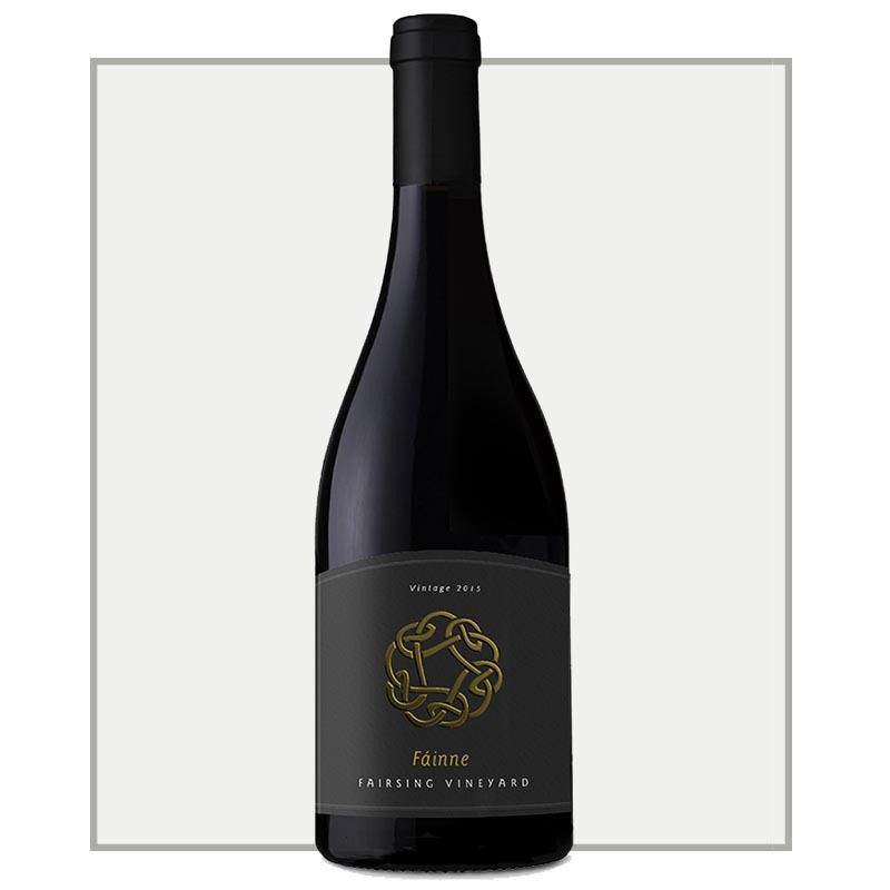 The 2016 Fáinne Pinot noir with Celtic Knot on the label