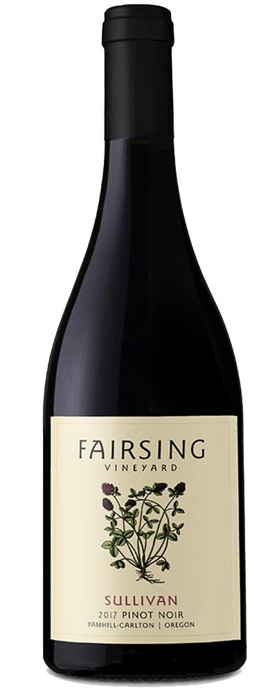 The 2017 Fairsing Vineyard Sullivan Pinot noir with blooming crimson clover on the label