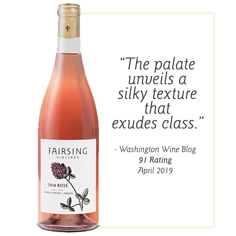 The 2018 estate Fairsing Vineyard Rose of Pinot Noir magnum with single crimson clover bloom on the label