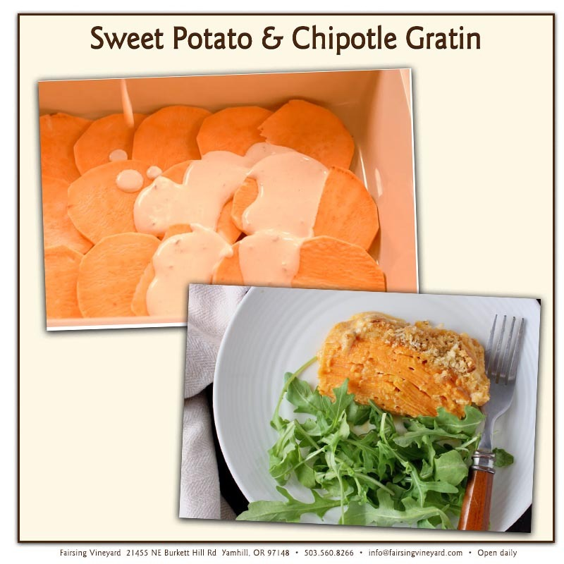 Sweet Potato and Chipotle Gratin in preparation and once baked served on a white plate with small green salad