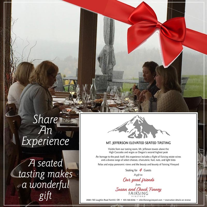 Seated Tastings with Fairsing Vineyard are an ideal gift for the Holidays and year round.
