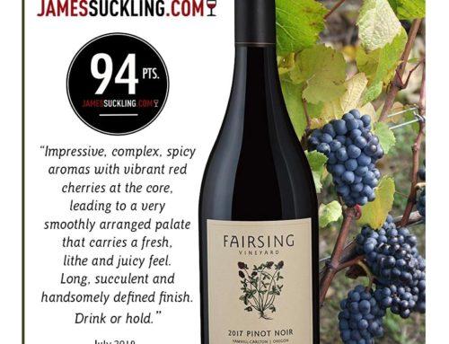 Acclaim for the 2017 Fairsing Vineyard Pinot Noir