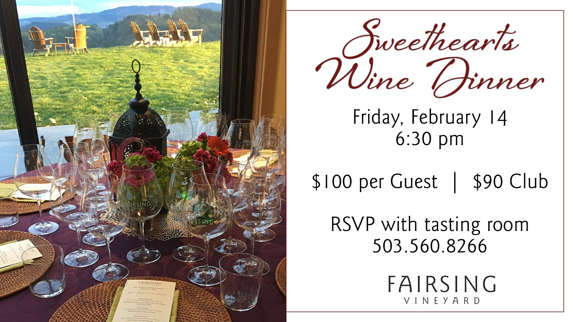Sweethearts Dinner @ Fairsing Vineyard