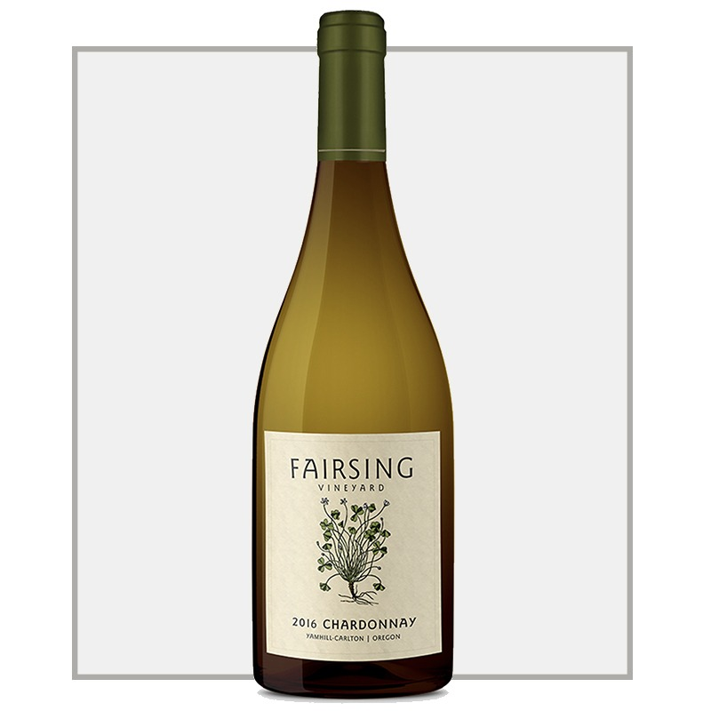 The 2016 Fairsing Vineyard Pinot noir with white shamrock on the label