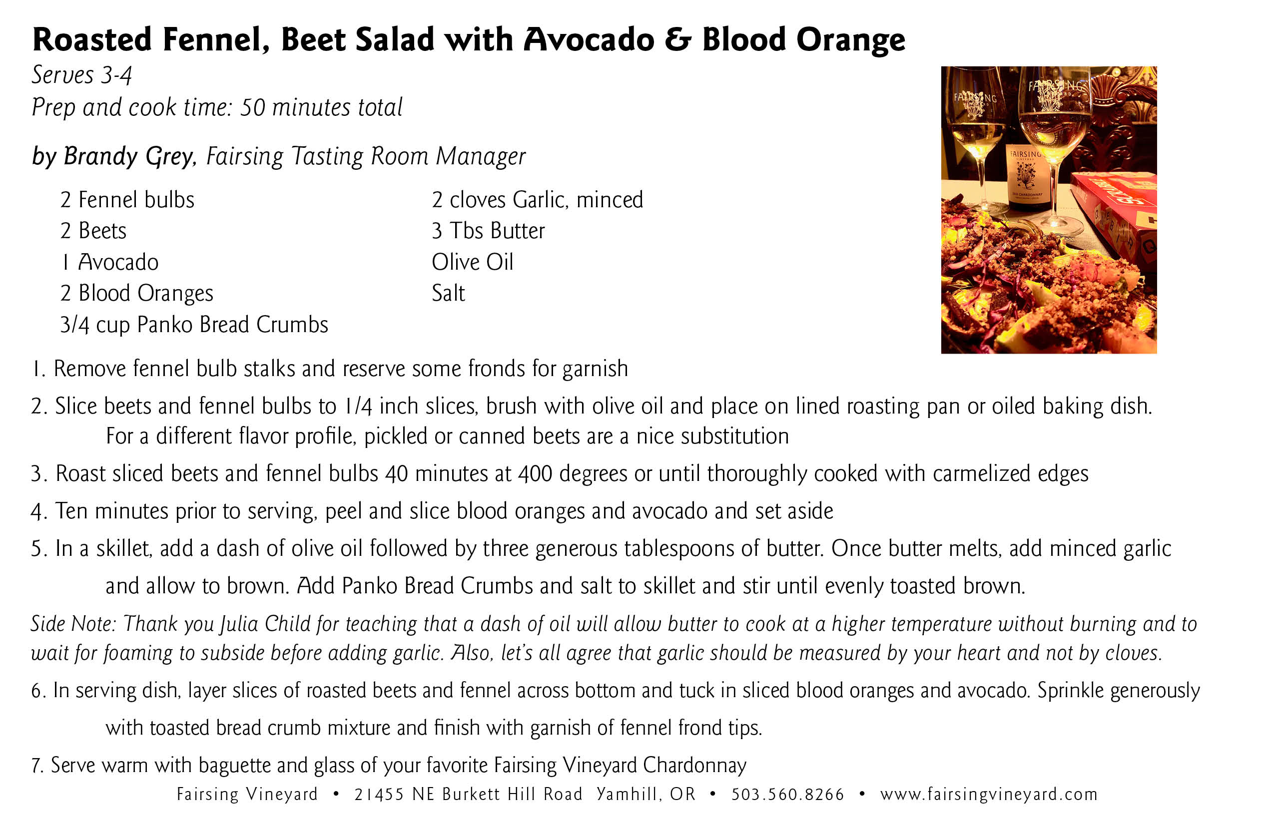 The Fairsing Vineyard Roasted Fennel Bulb and Beet Salad with Avocado and Blood Orange recipe