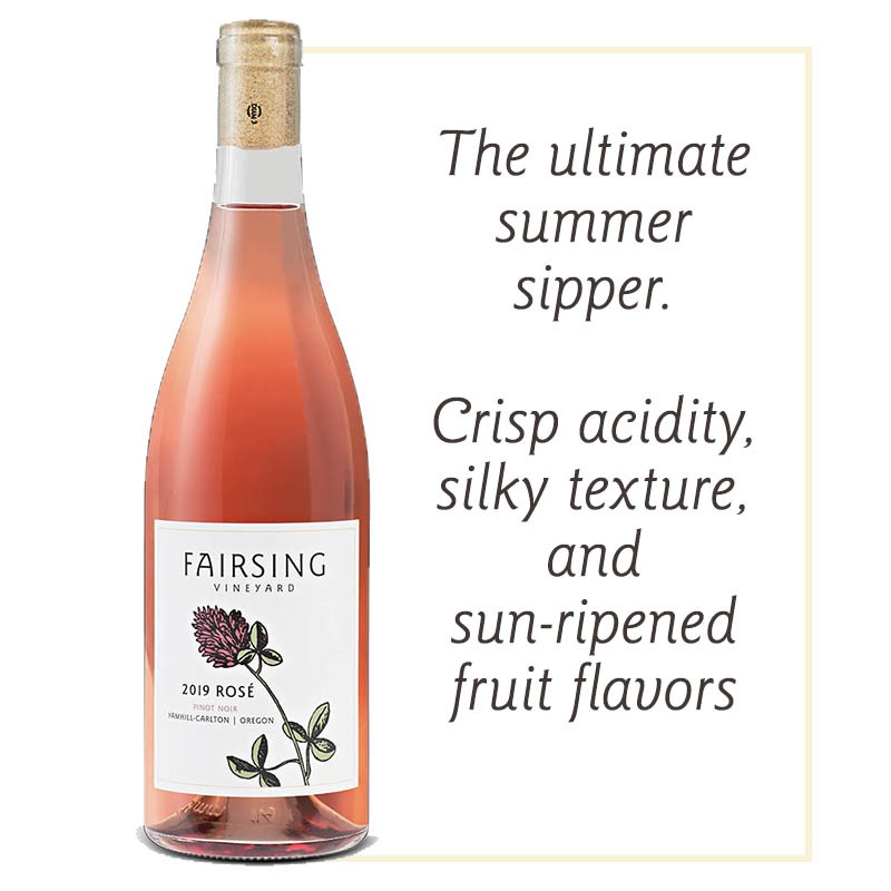 The 2019 Fairsing Vineyard Rosé of Pinot Noir with single bloom of crimson clover on the label