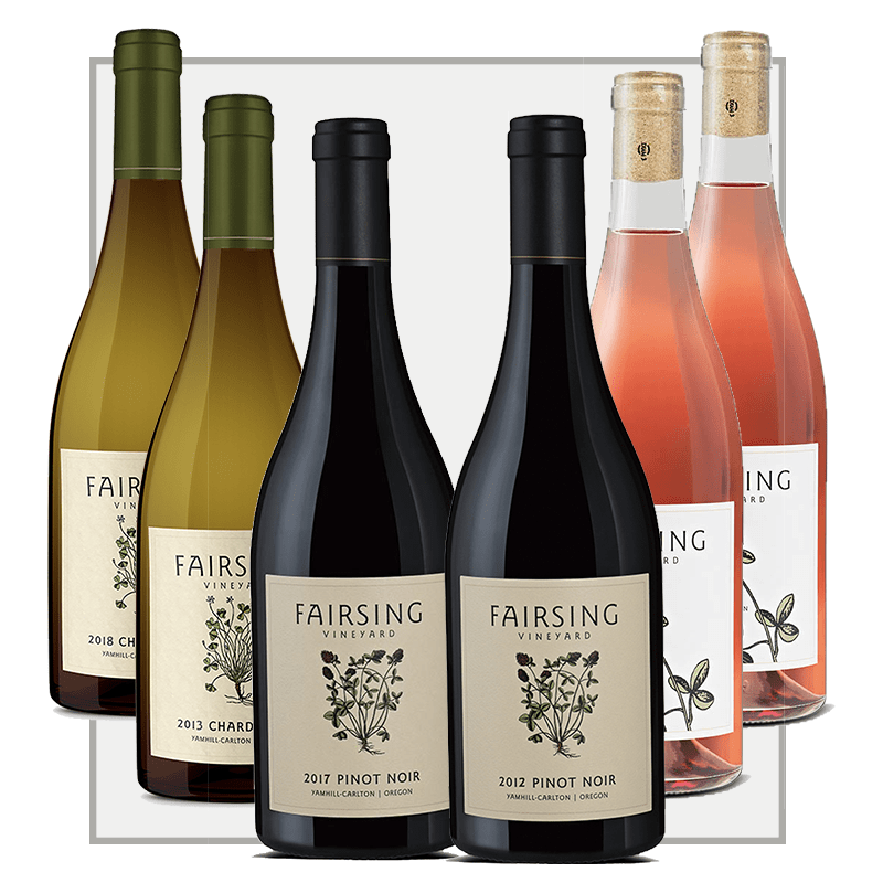 A 2020 Spring Six Bottle Collection from Fairsing Vineyard featuring estate Rosé, Chardonnay, and Pinot noir from across vintages.
