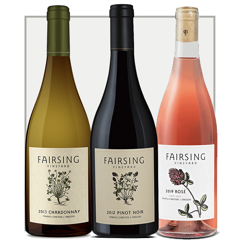 The three bottle spring collection from Fairsing Vineyard combines the old with the new featuring 2012, 2013, and 2019 vintages