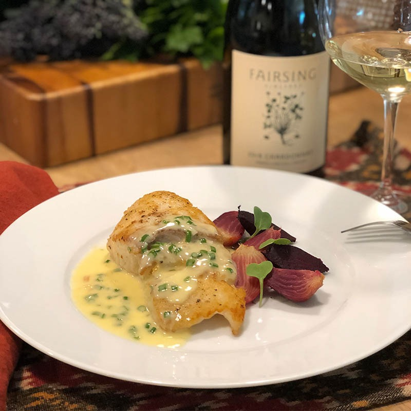 Pan-Seared Halibut with White Wine Sauce and Roasted Baby Beets