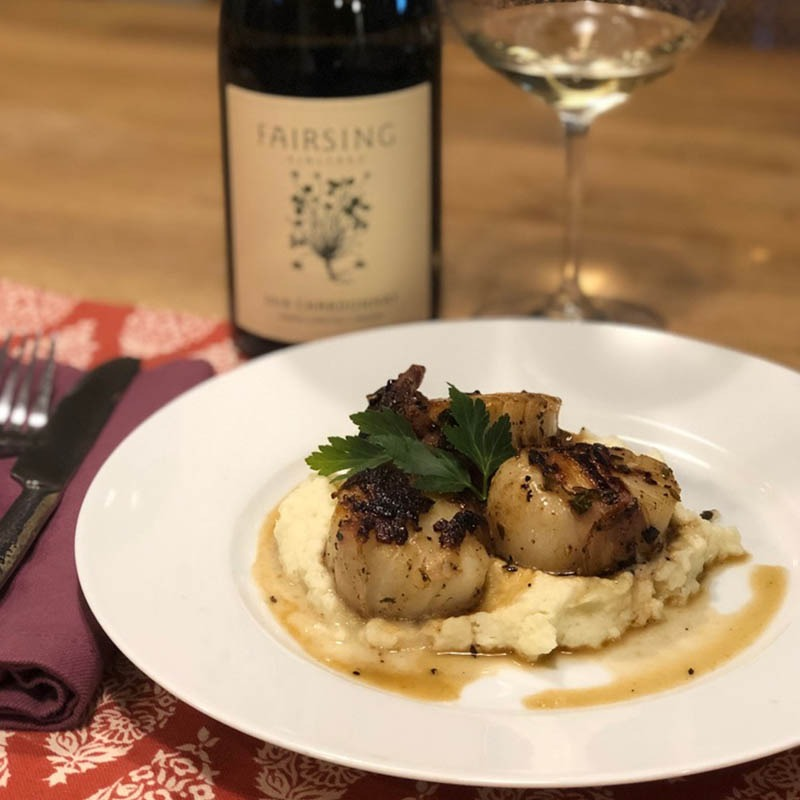 Fairsing Vineyard's Pancetta-Wrapped Scallops with Cauliflower Puree