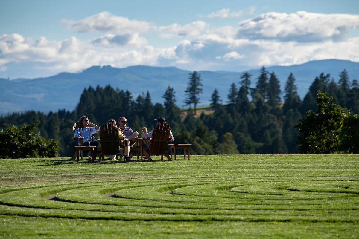 Guests at Fairsing Vineyard enjoy views of Oregon's Willamette Valley