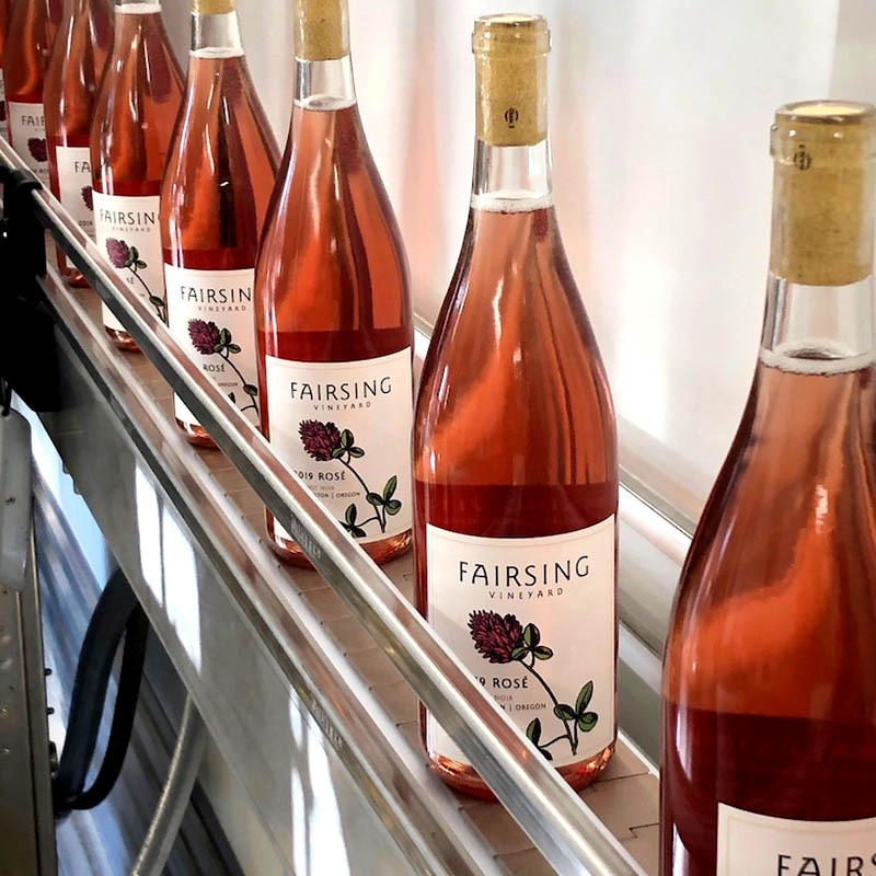 Fairsing Vineyard Rosé of Pinot noir lined up and ready for shipping and sipping