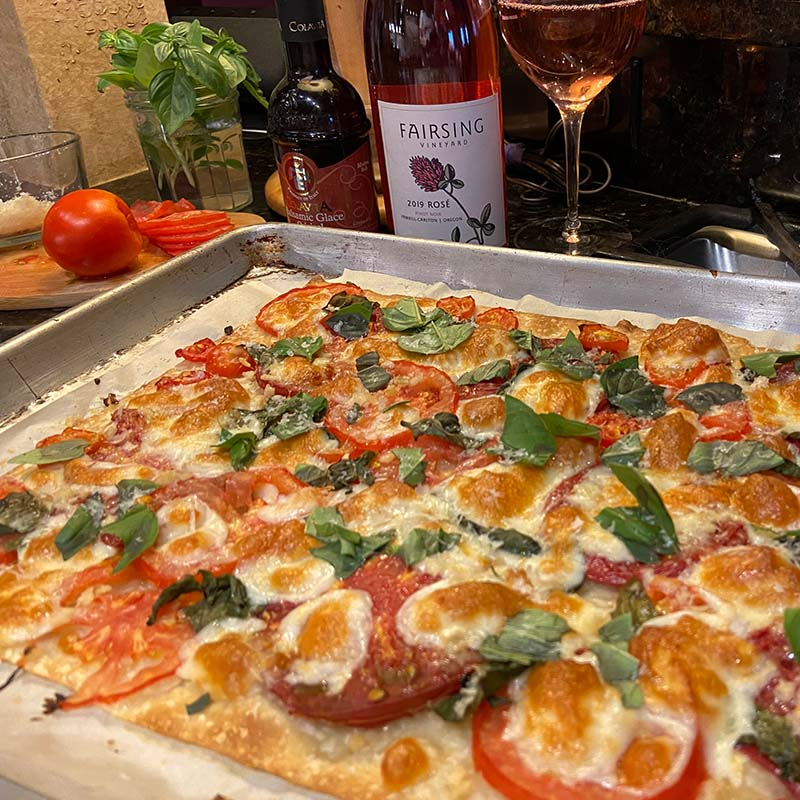 The Fairsing Vineyard Summer Heirloom Tomato Caprese Flatbread with the 2019 Rosé of Pinot noir