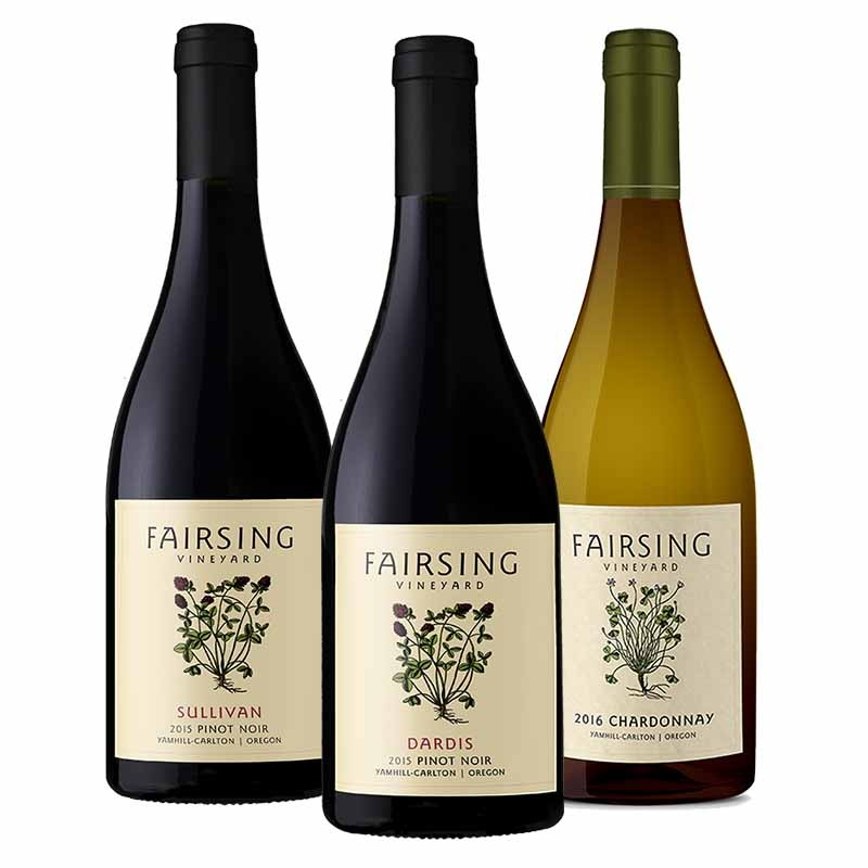 The library ensemble from Fairsing Vineyard includes 2016 Chardonnay and 2015 Sullivan and Dardis Pinot Noir