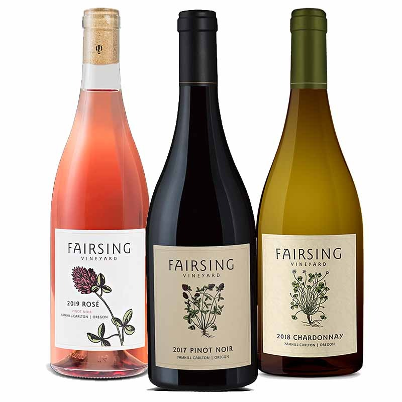 The estate three bottle ensemble from Fairsing Vineyard includes 2018 Chardonnay, 2017 Fairsing Pinot Noir, and 2019 Rosé