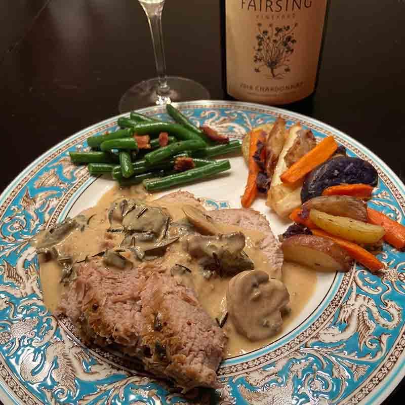 Fairsing Vineyard tender pork roast with Chardonnay, Rosemary, and Sage pan sauce
