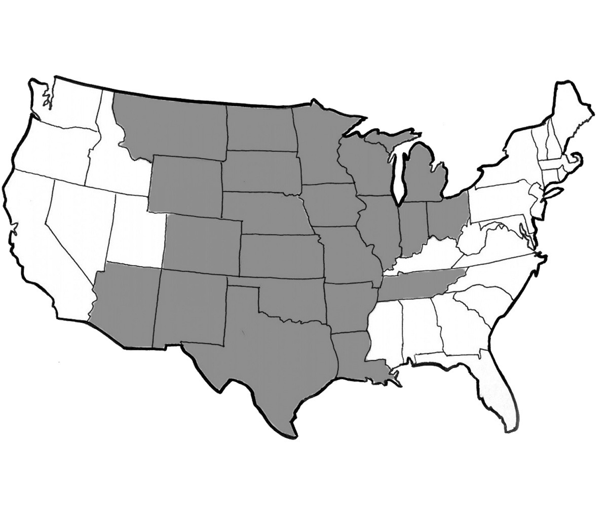 A map of the United States with states in the central zone for ground shipping with Fairsing Vineyard's