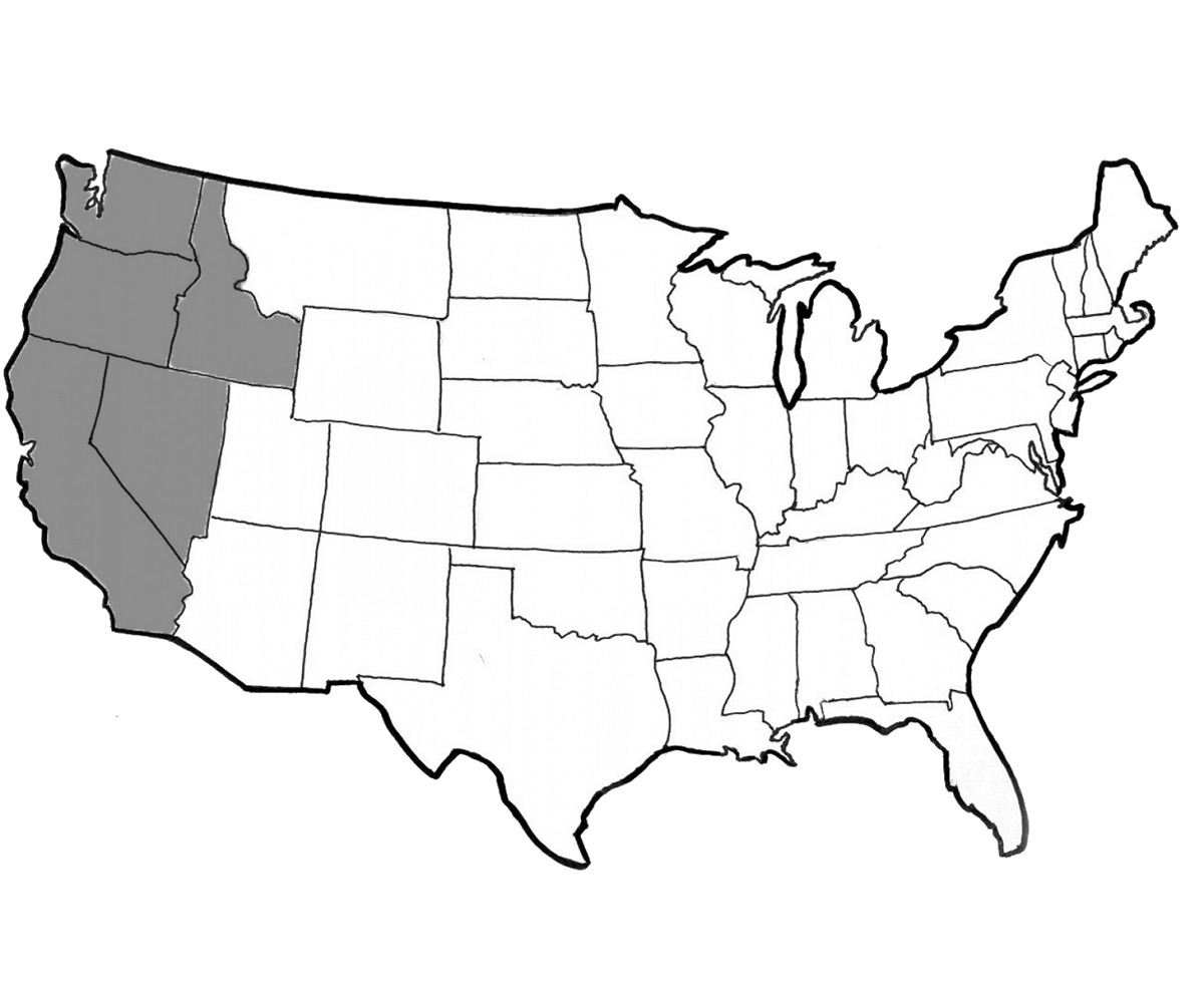 The west coast states included in flat rate shipping with Fairsing Vineyard