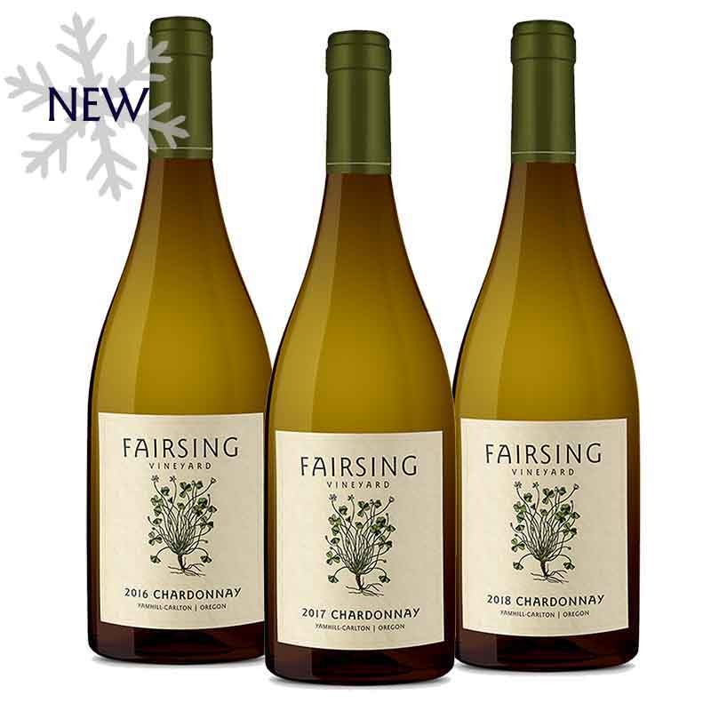 A White Christmas collection of estate Chardonnay from Fairsing Vineyard with the 2016, '17, and '18 vintages