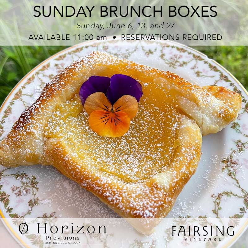 Fresh-baked danish pastry on floral rimmed china plate greet Guests for Sundays in June at Fairsing Vineyard