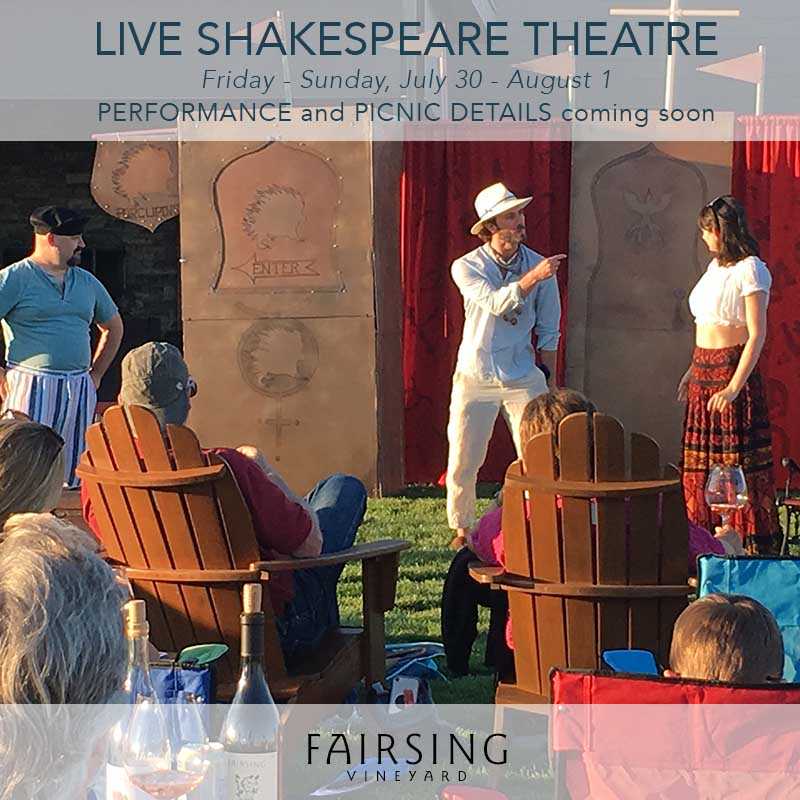 Live theatre performed on the patio at Fairsing Vineyard in Oregon's Willamette Valley
