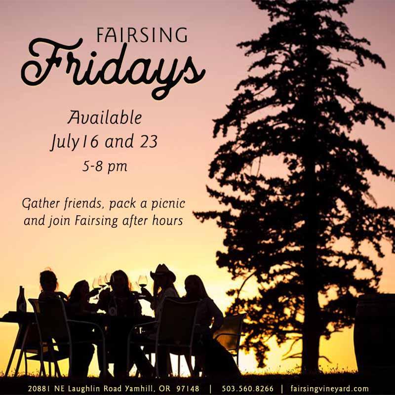 Fairsing Vineyard Guests enjoy estate wines and beautiful blue skies