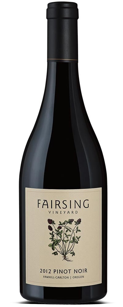 Fairsing Vineyard inaugural 2012 estate Pinot noir with crimson clover on the label is a velvet expression of the Willamette Valley