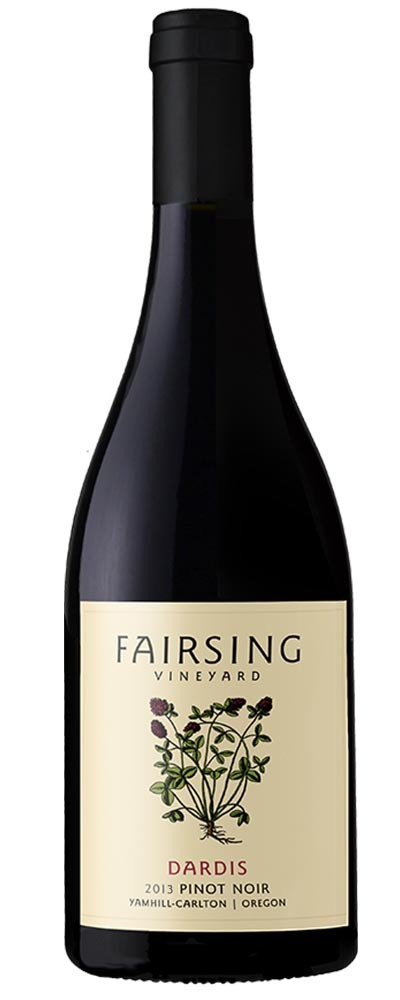 This image is of the 2013 Fairsing Vineyard Dardis Pinot noir wine bottle with blooming crimson clover on the label