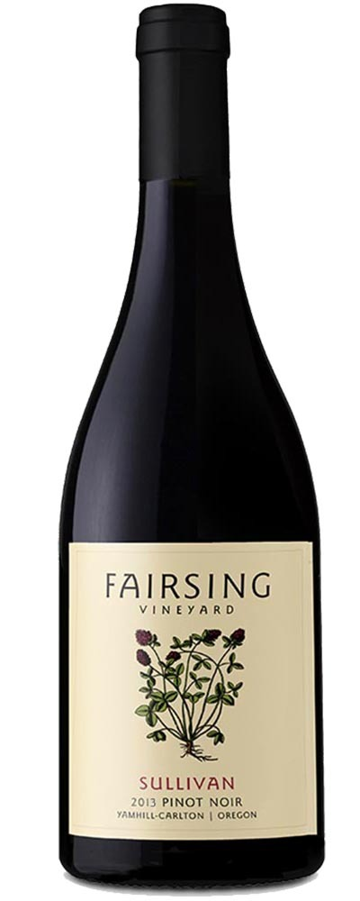 The 2013 Fairsing Vineyard Sullivan Pinot noir with crimson clover on the label